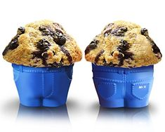 "Set Of 6 Mr Muffin - ""Muffin Top"" Baking Cups! These Novelty Jean Shaped Molds Create a Hilarious ""Muffin Top"" Look As The Batter Rises And Spills Over The Waistband! A Must Have For Birthday Gifts And To Spice Up Every Day Baking! Delight Your Guests With These ""Cheeky"" Baking Molds And Share A Laugh And A Delicious Muffin Or Cupcake Today! With Mr. Muffin Baking Cups You'll Also Receive FREE Access To 1000s Of The Latest Trending Cupcake And Muffin Recipes, Tips, And More…"