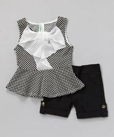 This Black Polka Dot Bow Peplum Top & Shorts - Girls is perfect! #zulilyfinds