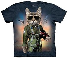 The Mountain Cotton Tom Cat Design Novelty Adult T-Shirt (Blue  S)