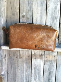 Personalized Toiletry Bag Groomsman Gift Personalized Leather HANDMADE Dopp Case OOAK Groomsmen Gifts Cognac Tote Embroidered Soft Leather