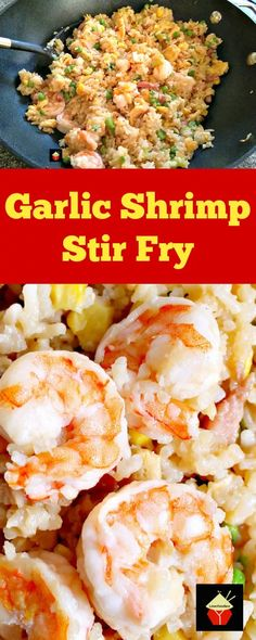 Garlic Shrimp Fried Rice! It's quick, easy and of course super tasty Asian starter or main dish!   Lovefoodies.com