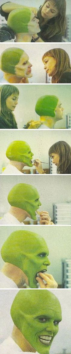 Jim Carrey In The Makeup Chair For 'The Mask' #makeup #artist