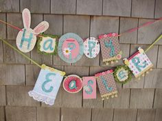Handmade Happy Easter Banner no tutorial but you can get the just of it.  just note she used foam behind the letters, to give depth or something like that.  a cool idea.