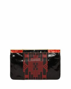 Patchwork Hexagon Frame Clutch Bag, Black/Red by Alexander McQueen at Neiman Marcus.