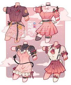 - (@Monstera__Tea) / Twitter Anime Drawings Sketches, Cool Art Drawings, Kawaii Drawings, Cute Art Styles, Cartoon Art Styles, Art Inspiration Drawing, Character Design Inspiration, Drawing Ideas, Cartoon Outfits