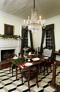 The dining room of the main house at the Rose Hill plantation in Union, SC. The room is decorated for the Christmas holiday with greenery found on the property.