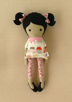 Fabric Doll Rag Doll with Black Hair and Ponytails. $35.00, via Etsy.