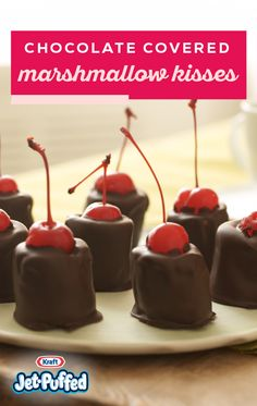 Enjoy these Chocolate-Covered Marshmallow Kisses anytime you like. These simple Chocolate-Covered Marshmallow Kisses are great when served with hot cocoa. Köstliche Desserts, Holiday Baking, Christmas Desserts, Christmas Baking, Delicious Desserts, Candy Recipes, Cupcake Recipes, Cookie Recipes, Dessert Recipes