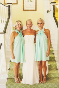This is a great photo showing 2 Different Styles of Bridesmaid Dresses to compliment the Bride, instead of just 1. Great Color!