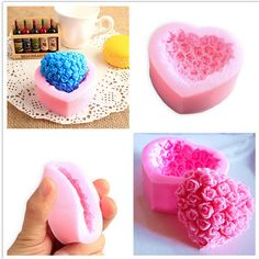 3D Love Heart Rose Flower Shape Sugar Craft Silicone Mold Fondant Cake Chocolate Moulds Decorating Baking Tools #Affiliate