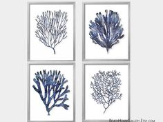 Seaweed Prints Indigo Coral Blue White Wall Art Coastal