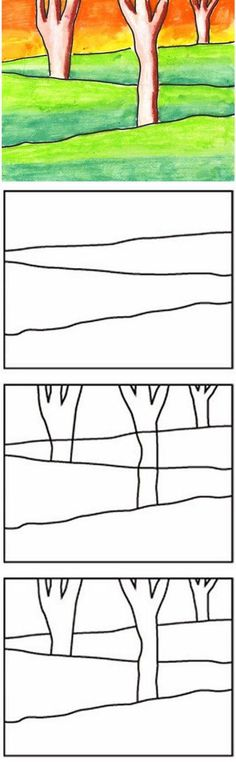 Draw a Layered Landscape · Art Projects for Kids Art Projects for Kids: Layered Winter Landscape Winter Landscape, Landscape Art, Landscape Paintings, Landscape Drawing For Kids, Pastel Landscape, Landscape Elements, Landscapes, Winter Art, Autumn Art