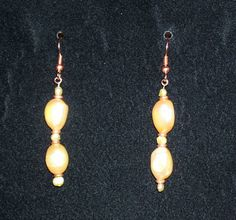 Pearl and Copper Earrings by ShamamasTreasures on Etsy