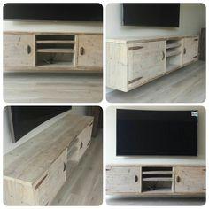 @GoedGevonden : Hangend/zwevend steigerhouten TV meubel op maat Flat Screen, New Homes, Collages, Cabinets, Furniture, Tv, Home Decor, Blood Plasma, Armoires