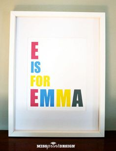 Baby Nursery Art, Alphabet Print, Personalized, Baby Shower Gift, via Etsy.