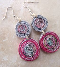 Natural Pink-Recycled Newspaper  Handmade Earrings by Aidapapel