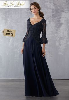 Style ENEZI Lace and Chiffon Special Occasion Dress with Beaded Lace Appliqués Beaded Lace Appliqués on Chiffon.Colors Available: Navy, Champagne