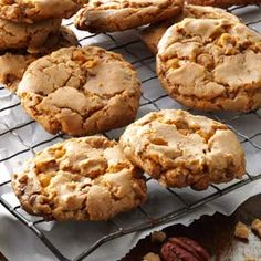 Butterscotch Toffee Cookies . uses butter pecan cake mix , butterscotch chips . toffee bits :)