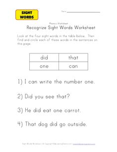 sight word activities did, that, one, can  sight word recognition for kindergarten