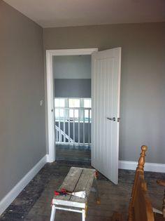 Bedroom in Dulux Misty Mountain, landing is Chic Shadow.