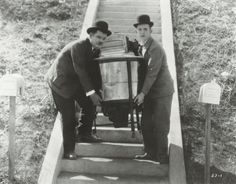 """Laurel and Hardy in """"Hats Off"""" Lost, Silent Feature 1927"""