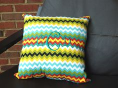 Daydreamin Multi Color Chevron Monogrammed Pillow