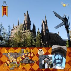 Page Wizarding World of Harry Potter (Orlando) Non-Disney Theme Parks in the area Disney Scrapbook Pages, Scrapbook Sketches, Travel Scrapbook, Scrapbook Paper Crafts, Scrapbooking Layouts, Scrapbook Cards, Harry Potter Scrapbook, Universal Studios Florida, Universal Orlando