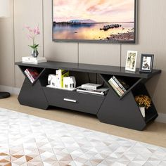 Orren Ellis Hedon TV Stand for TVs up to 78 inches Colour: Black Tv Stand Furniture, Home Decor Furniture, Living Room Furniture, Furniture Design, Geek Furniture, Tv Unit Interior Design, Tv Vintage, Modern Tv Wall Units, Modern Tv Cabinet