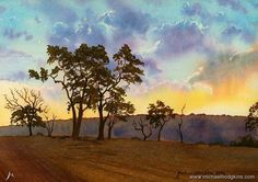 "LOOKING BACK - Watercolour from 2004. ""Evening Sky 4""  I did a series of sunsets around the York area in Western Australia back when I was having a bit of a play with watercolours ... See my paintings for sale at www.bit.ly/shop-mh ... #watercolorpainting #watercolourpainting #watercolour #watercolor #painting #oilpainting #landscapepainting #landscape #artist #landscapeart #oiloncanvas #australianlandscape #australianlandscapepainting #australianlandscapes #in #instagramart #trees…"