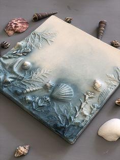 Flower plaster decor by DinaArtDecor Seashell Painting, Seashell Art, Seashell Crafts, Plaster Crafts, Plaster Art, Seashell Projects, Sea Crafts, Sea Art, Mixed Media Canvas