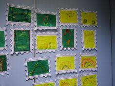 Begeleide of zelfstandige activiteiten - Postzegel ontwerpen met wasco en ecoline Community Helpers, Post Office, Kindergarten, Poster, Arts And Crafts, School, Projects, The Letterman, Draw