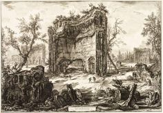 Giovanni Battista Piranesi, 'A View of the Remains of the Second Storey of the Baths of Titus' Ancient Tomb, Ancient Ruins, Grand Tour, Rome Antique, Roman Architecture, Architectural Prints, Italian Artist, Modern Prints, New Artists