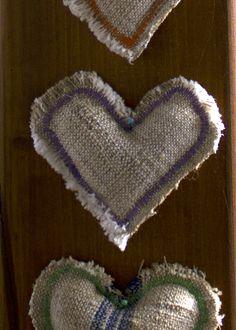 Textile, handmade linen hearts