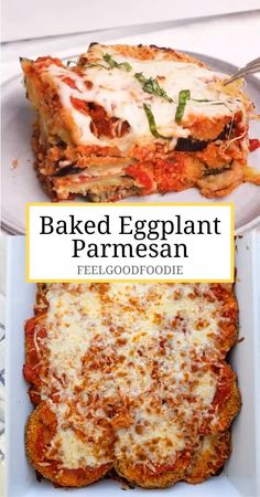 This Baked Eggplant Parmesan is a lighter twist on the classic Italian recipe. Its coated in panko breadcrumbs, then baked with layers of cheese & marinara Plats Healthy, Diet Recipes, Cooking Recipes, Egg Dinner Recipes, Smoothie Recipes, Soup Recipes, Carb Free Recipes, Italian Dinner Recipes, Entree Recipes