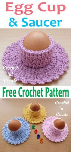 How do you like your eggs lol, a free crochet pattern for egg cup and saucer pattern, make for gifts etc. #crochetncreate #freecrochetpattern #crocheteggcup