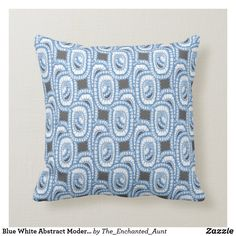 Blue White Abstract Modern Pattern Pillow.  #bluehome #decoratingwithblue #bluedecor #throwpillows #homedecor #pillows #throwpillowsforbed #eleganthomes #pillowpattern