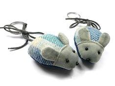 Mouse Keyring - Cloudburst Tweed Fair Trade Jewelry, Jewelry Roll, Tweed, Indigo, Baby Shoes, Rolls, Velvet, Ear, Jewellery