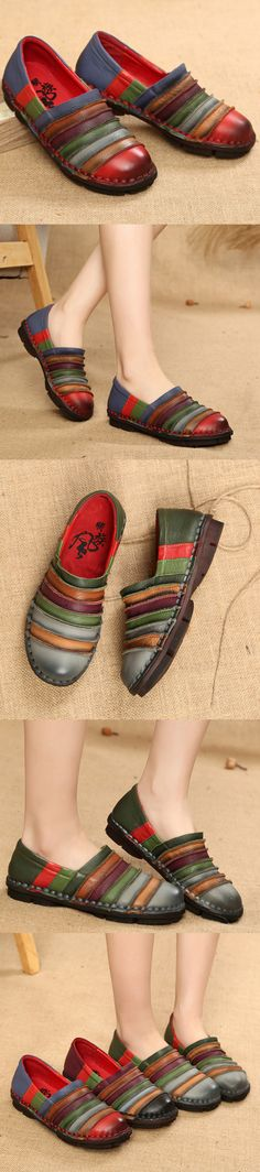 US$46.94  SOCOFY Rainbow Color Genuine Leather Soft Flat Loafers