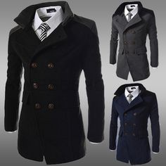 Casual Peacoat Black Coats and Jackets Double Breasted Woolen.