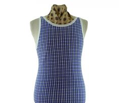 """70s vintage vest Features a scoop neck, blue and white hounds-tooth checked print #vintagefashion #vintage #retro #vintageclothing #70s #1970s #vintageshirts <link rel=""""canonical"""" href=""""http://www.blue17.co.uk/>"""