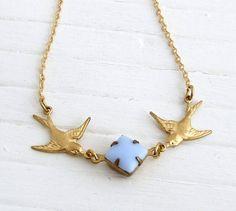 Brass Bird Necklace .. swallows, jewellery, birds, necklace, baby blue, bird jewellery