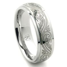 Cobalt Xf Chrome 8mm Laser Engraved Paisley Motif Dome Wedding Band Ring Pinterest Rings And
