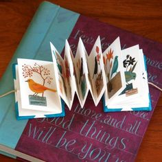 Tiny illustrated accordion book by Geninne Zlatkis Accordian Book, Concertina Book, Paper Book, Paper Art, Book Crafts, Paper Crafts, Origami, Libros Pop-up, Handmade Books