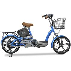 The blue Emojo E1 Bike is a fun, highly functional, chargeable, electric-powered urban vehicle. This electric bike is an ideal and green alternative to an automobile and is great for college students and city dwellers who have a short commute.