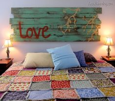 DIY+Headboard - Great idea, and I love the quilt. Reminds me of the first ever quilt I made when I was 12 years old. Also reminds me that I should make one or more again. - Scrap quilt and easy to make. Squares of cotton with batting and denim sewed with a criss-cross, then all sewn together!