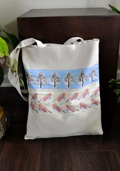 Canvas Tote Bag with Illustrated European Robin and by yayhooray, $20.00