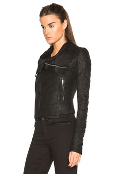 Image 3 of Rick Owens Blister Leather Classic Biker Jacket in Black