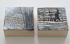 Lari Washburn, ink on raw panels