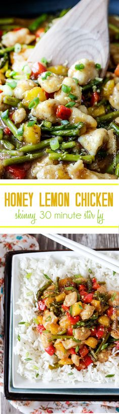 Light Honey Lemon Chicken Stir Fry on the table in less than 30 minutes with a cook time of 10 minutes! bursting with crisp tender asparagus, red bell peppers and sweet mangoes (may sub pineapple) smothered in a tantalizing, easy sweet, refreshing lemon sauce. ~ Can't wait to try - will put it on my Tried and True Recipes if it comes out as great as it sounds!   #stir fry #lemonchicken #honeychicken #asianchicken