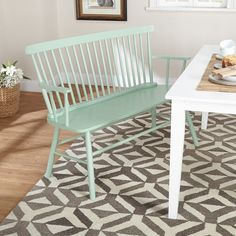 Bring fresh beauty to your foyer or living room with this Simple Living Shelby mint bench. The classic design and cool mint shade add country charm to your home, and the wide seat creates a perfect spot for putting on shoes and outerwear. Decorate your home with this austerely elegant bench just as it is, or dress the bench up with your favorite needlepoint cushions or a bright patchwork throw.